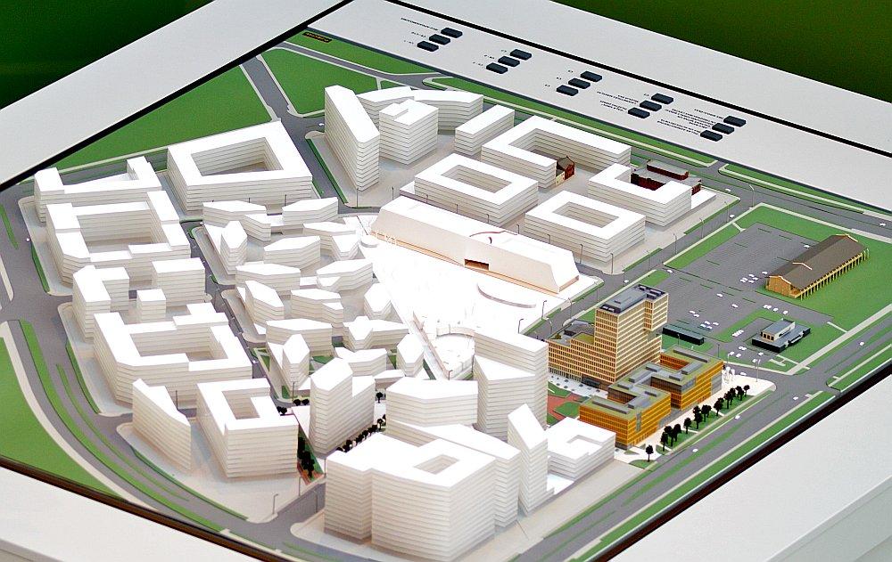 """Sākotnēji plānotā """"New Hanza City"""" centrālā kvartāla makets."""