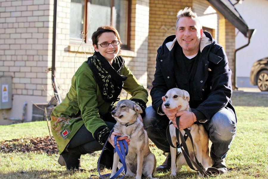 Dace un Dainis pie savas mājas kopā ar mīluļiem, uzticamajiem pastaigu biedriem Dingo un Snīpīti. Starp citu, suņuki paņemti no patversmes.