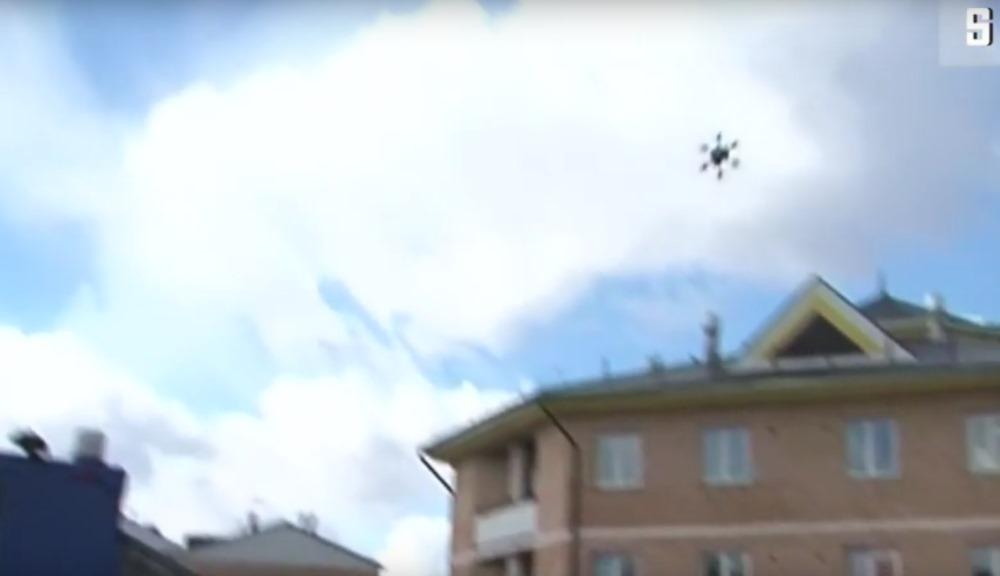 Krievijas pasta drons ar 2 kg sūtījumu avarē pēc 100 metriem, 03.04.2018.