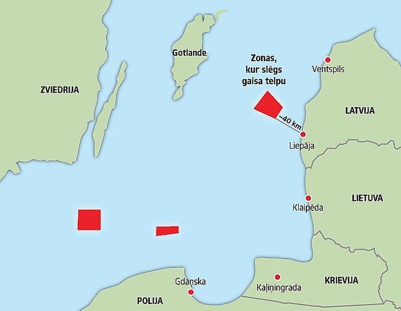 """Krievijas raķešu šaušanas zonas Baltijas jūrā. Krievijas Jūras spēki 4. – 6. aprīlī Baltijas jūrā, tajā skaitā virs Latvijas ekskluzīvās ekonomiskās zonas, plāno veikt raķešu šaušanas pārbaudi. Krievijas puse aicinājusi Latviju gaisa telpu 18 kilometru augstumā šajā zonā, kas ir aptuveni 40 kilometrus no Latvijas krasta līnijas. Arī Zviedrijas aviācijas dienests publicējis brīdinājumu civilajai aviācijai par Krievijas raķešu šaušanu Ka""""ļingradas rajonā. Šaušanas zona iesniegšoties 18 km tālu neitrālajos ūdeņos Zviedrijas virzienā. Lidojumiem civilajai aviācijai tiks slēgti visi augstumi aptuveni līdz 20 km augstumam."""
