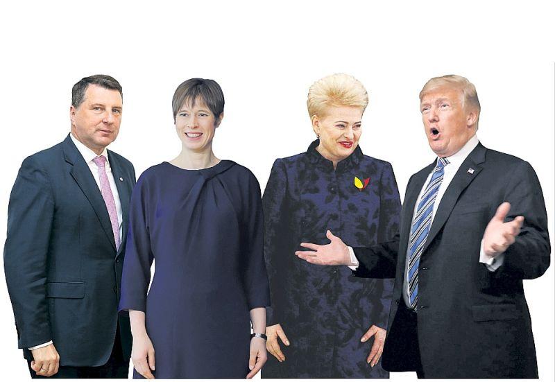 Samitā, kas veltīts Baltijas valstu simtgadei, plānots iezīmēt turpmāko Baltijas valstu un ASV sadarbību, īpaši drošības un aizsardzības jomā, kā arī sadarbību ekonomikā, enerģētikā, izglītībā un citās jomās, uzsver Latvijas Valsts prezidents Raimonds Vējonis (no kreisās), kurš kopā ar Igaunijas Valsts prezidenti Kersti Kaljulaidu un Lietuvas Valsts prezidenti Daļu Grībauskaiti Vašingtonā tiksies ar ASV prezidentu Donaldu Trampu.