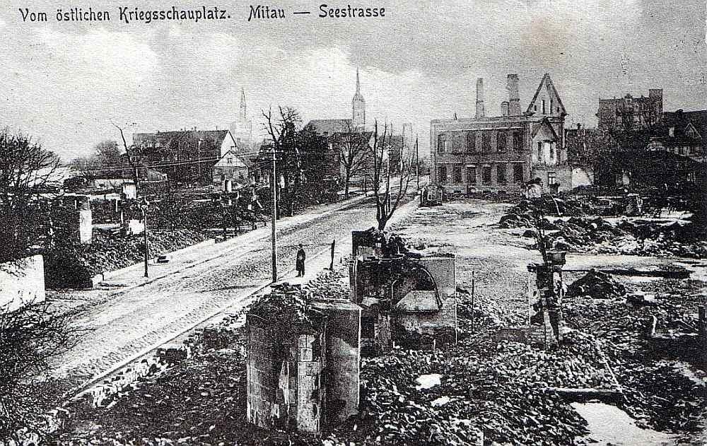 Pirmā pasaules kara postījumi Jelgavā.