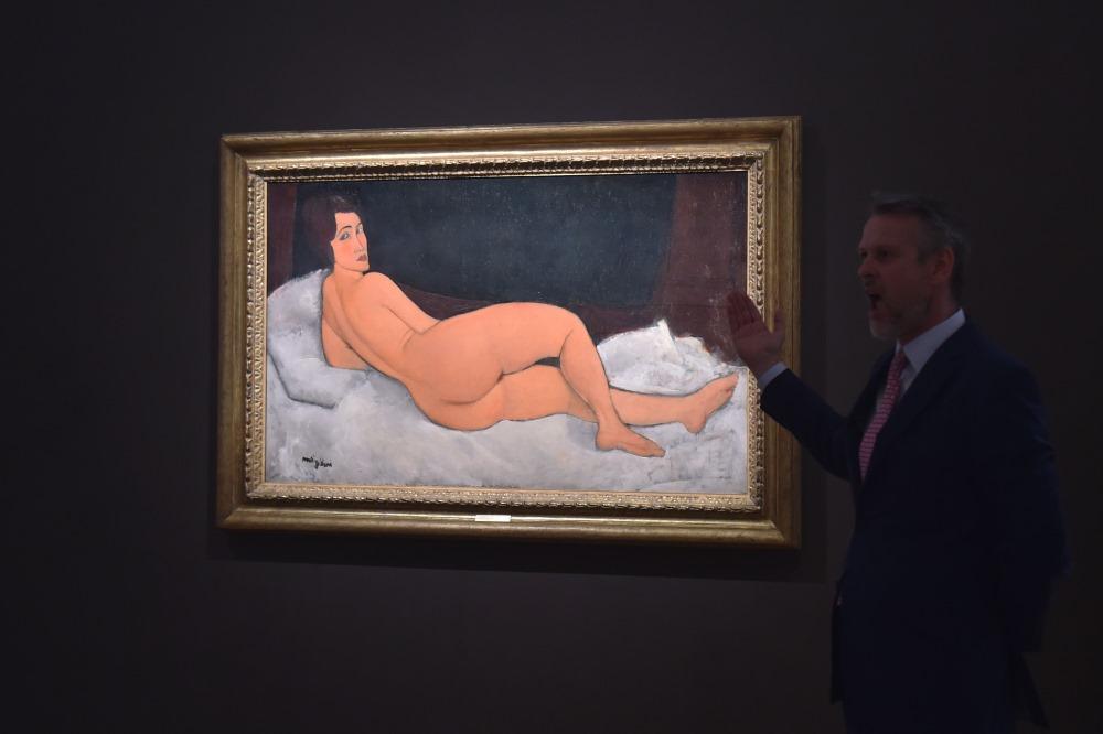 """Amedeo Modiljāni gleznotais akts """"Nu couche (sur le cote gauche)""""."""