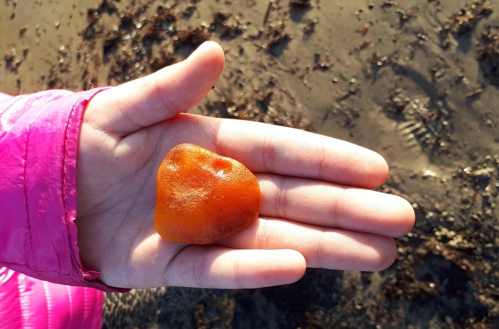 Liepājas pludmalē atrasts dzintars, 2018. gada maijā.