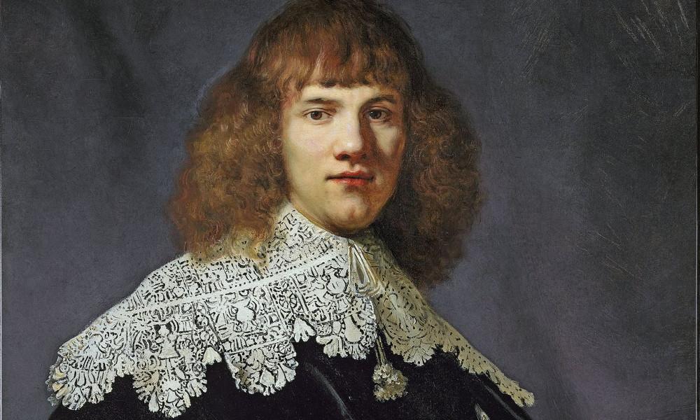 """Rembrants, """"Jauna cilvēka portrets"""", fragments."""