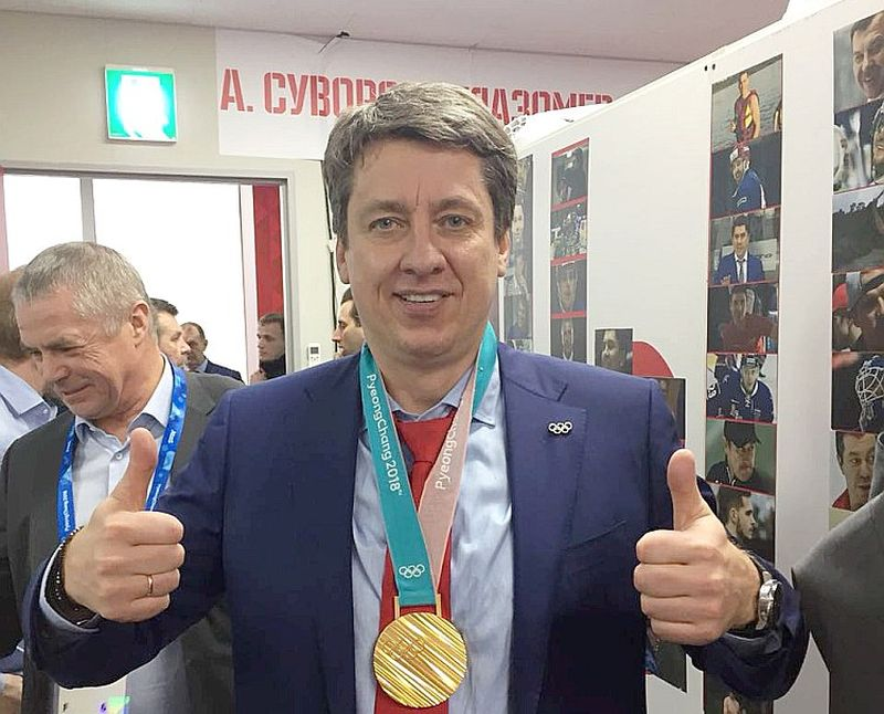 Harijs Vītoliņš pēc dramatiskās uzvaras olimpisko spēļu finālā pār Vācijas izlasi.