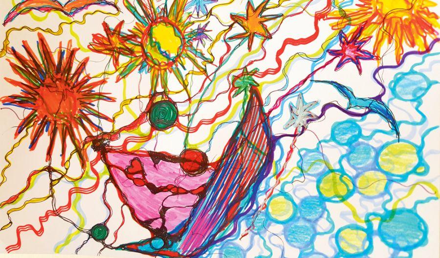 Zīmēts kopā ar sešus gadus vecu bērnu.