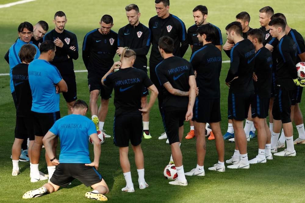 Horvātijas izlase treniņā piektdien. Foto – AFP/Scanpix/LETA