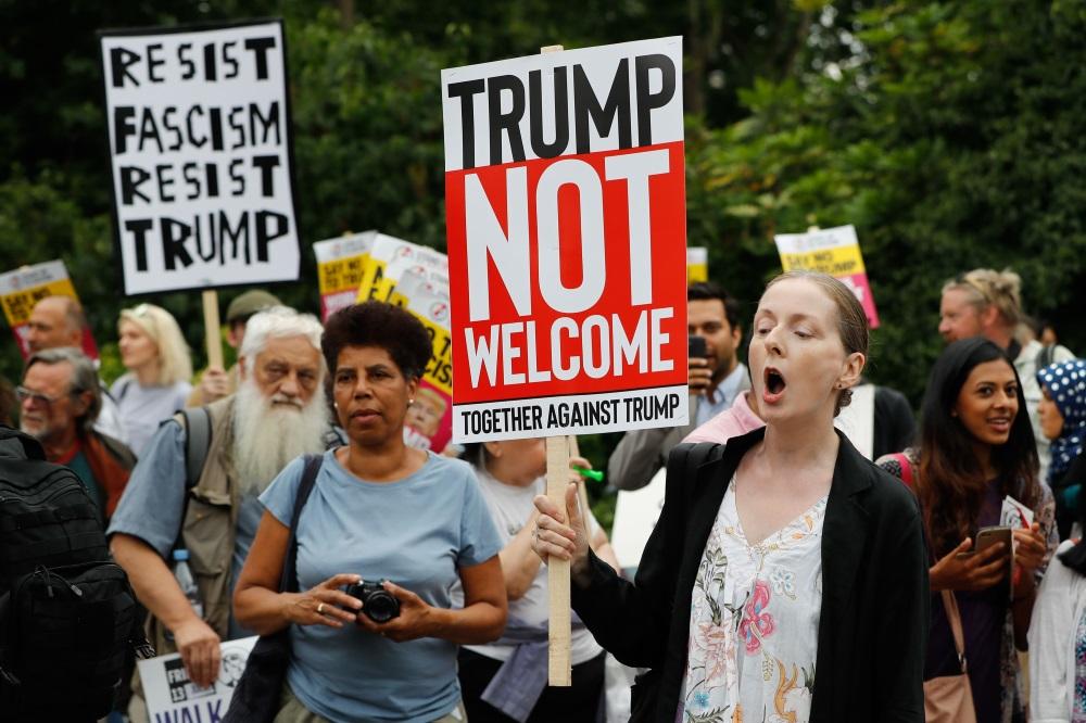 Londonā protestē pret ASV prezidenta Donalda Trampa vizīti, 12.07.2018.