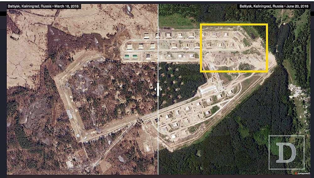 Pēdējā mēneša laikā aktivizējušies būvdarbi Krievijas militārajā objektā, iespējams, artilērijas noliktavā, Kaļiņgradas apgabala Baltijskas apkaimē.