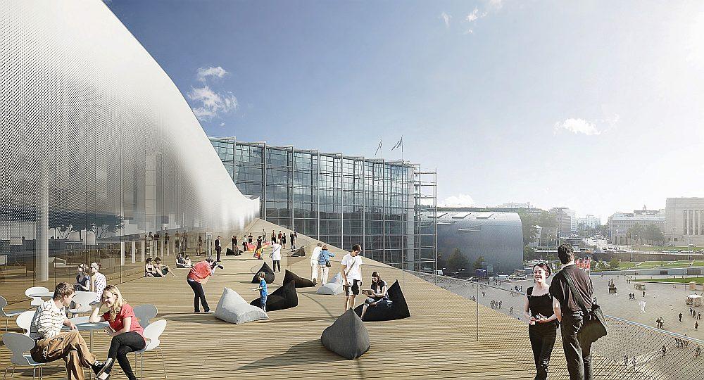 """Helsinku Centrālās bibliotēkas balkons. Tālumā saskatāma Parlamenta ēka un Laikmetīgās mākslas muzejs """"Kiasma"""". Projekta vizualizācija."""