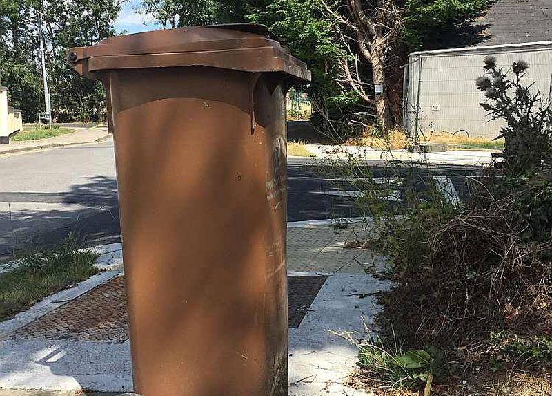 Brūnais atkritumu konteiners pie privātmājas organiskajiem atkritumiem (nopļautai zālei, izravētajām nezālēm, savāktajām lapām un arī pārtikai).