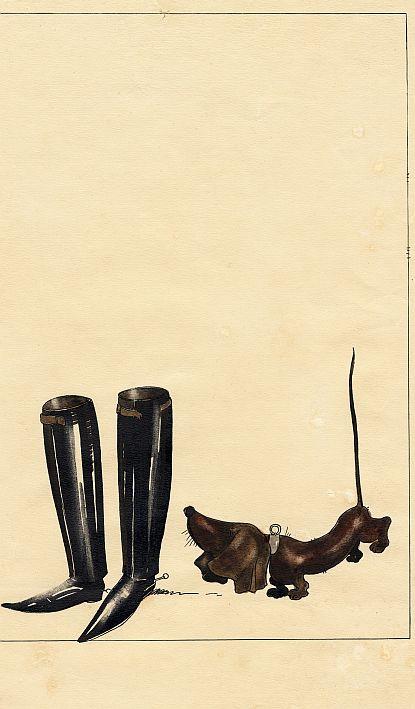 Kārlis Padegs. Zābaki un suns. 1935. Papīrs, tuša, akvarelis. LNMM kolekcija.