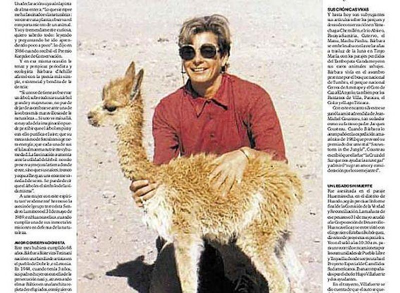 Barbarai d'Ačilei bija lemts trīs gadu vecumā pamest dzimteni un jaunajā mājvietā – Peru – kļūt par populāru dabas žurnālisti.