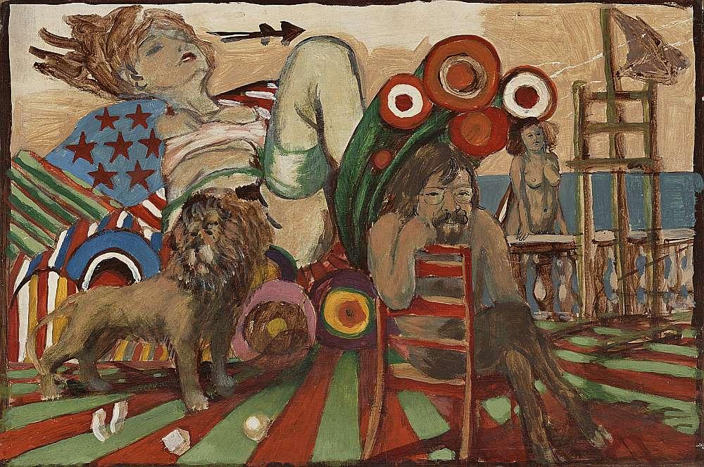 """Vladimirs Glušenkovs. """"Sieviete un lauva"""". Ap 1976. Preskartons, audekls, tempera. 34X50,5 cm. Zuzānu kolekcija."""