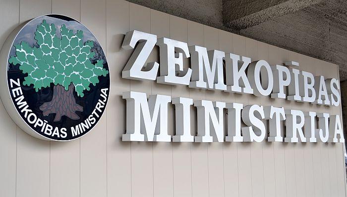 Zemkopības ministrijas uzraksts.