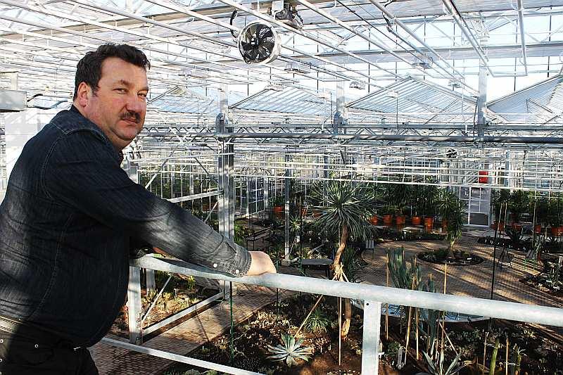 """Nacionālā botāniskā dārza direktors Andrejs Svilāns izrāda plašo oranžēriju jeb, kā to dēvē darbinieki, stikla kalnu. Viņš ir pārliecināts: """"Oranžērija iegūs pavisam citu izskatu pēc vairākiem gadiem, kad augi saaugs. Tad būs īsta džungļu sajūta."""""""