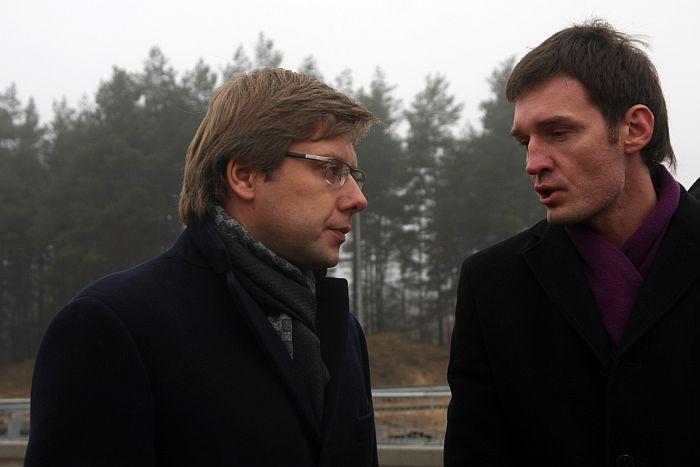 Nils Ušakovs (no kreisās) un Vitālijs Reinbahs.