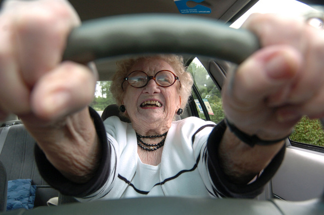 BC-WV–BC-PRI–Older Drivers–Eighty-seven-year-old Dorothy Wulfers, who learned to drive a Model T Ford at age 15, prepares to pull out of her parking space Friday, June 4, 2004 in Morgantown, WV. Wulfers said only her and God will decide when she stops driving. (AP PHOTO/DALE SPARKS)
