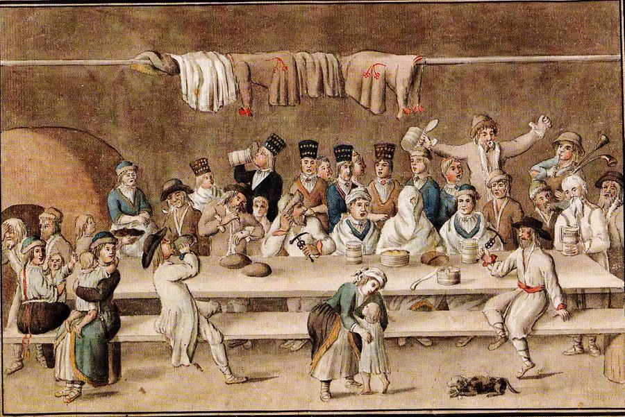 Novadpētnieka J. K. Broces (1742 – 1823) 18. gadsimta beigās zīmētās Livonijas igauņu zemnieku kāzas. Sirojumu laiks bija pāri, bet līgavu zagšana pēc abpusējas norunas šķiet pastāvēja.