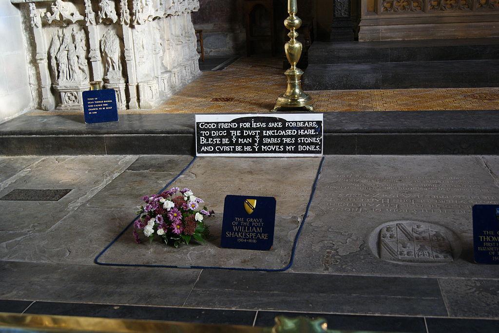Šekspīra kapavieta Sv. Trīsvienības baznīcā Stretfordā pie Eivonas.