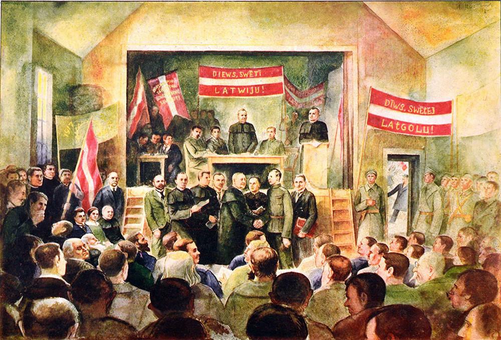 20.gs. 30. gadu plakāts ar 1917.g. Latgales latviešu pirmā kongresa ainu.