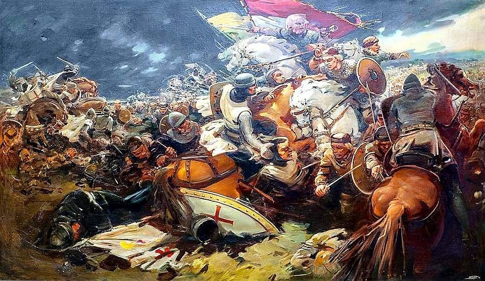 """Mākslinieka Voldemāra Vimbas 1937. gada glezna """"Saules kauja"""" apskatāma Kara muzejā. Gleznā atainotajam gan maz saistības ar to, kas 1236. gada 22. septembrī notika kaujas laukā."""