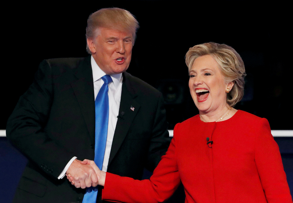Arhīva foto. ASV prezidents Donalds Tramps un Hilarija Klintone.