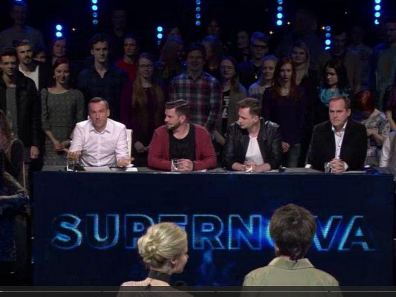 Žūrija četru vīru sastāvā: (no kreisās) Kaspars Roga, Intars Busulis, DJ Rudd un Guntars Račs.
