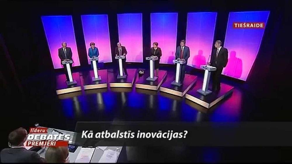 """Viena no populārākajām politiķu diskusijām pirms 12. Saeimas vēlēšanām bija LNT rīkotās """"Līderu debates. Premjeri"""". Tomēr, kā norāda eksperti, šādu pārraižu sagatavošana prasa ievērojamus resursus un ar reklāmas ieņēmumiem vien to nosegt neesot iespējams. Tādēļ televīzijas cer uz valsts atbalstu arī pirms 13. Saeimas vēlēšanām."""