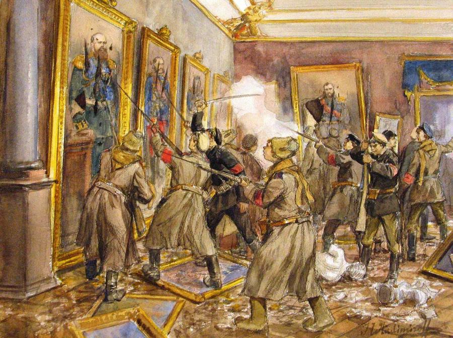 Mākslinieks Ivans Vladimirovs savā mūžā pieredzēja kā cara laikus, tā Krievijas Pilsoņu karu. Viņa gleznas nereti veltītas šai tematikai. Tomēr vēsturnieki atzīst, ka sarkanarmiešu vandālisms Ziemas pils interjeriem nemaz tik lielus zaudējumus neesot nodarījis.