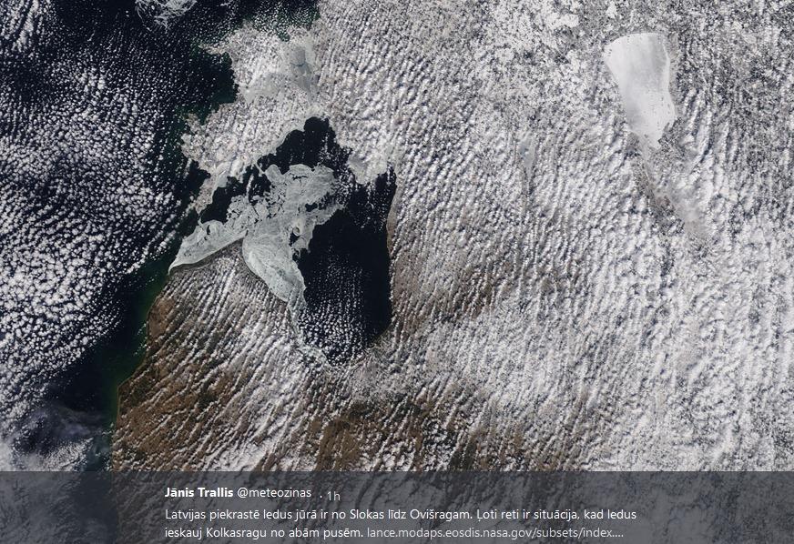 Meteorologs Jānis Trallis publisko retu Latvijas dabas parādību – Kolkas rags ieskauts ledū no abām pusēm.