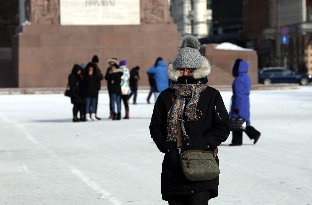 Spelgonis februārī Rīgas ielās.
