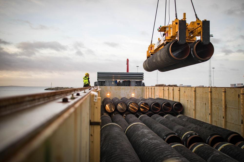 """Gāzesvada """"Nord Stream 2"""" cauruļu izvietošana Rīgenas salā, Vācijā, 23.03.2018."""