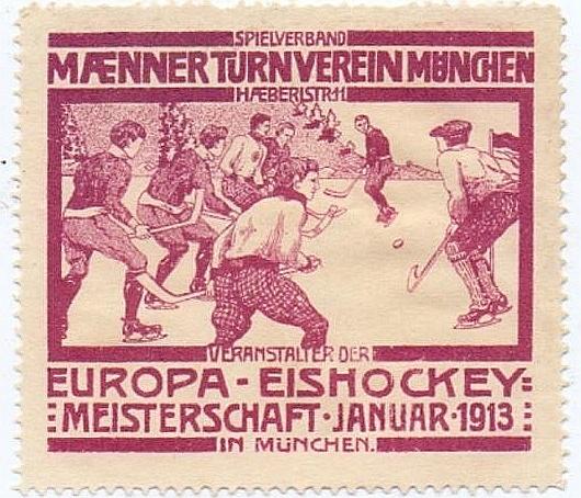 1913. gada Eiropas hokeja meistarsacīkstēm veltīta pamarka.