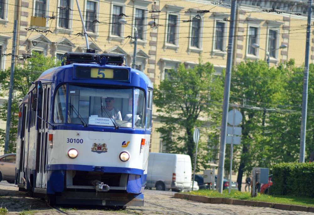 Tramvajs Rīgas centrā.