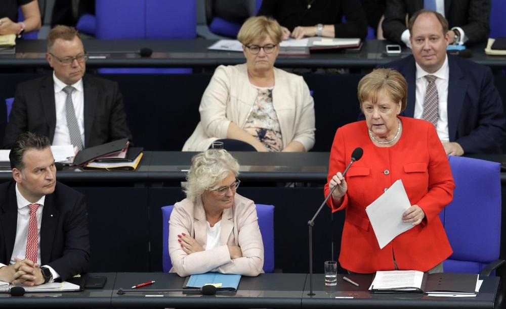 Vācijas kancleri Angelu Merkeli pirmo reizi iztaujā Bundestāgā par dažādiem politikas jautājumiem, 06.06.2018.
