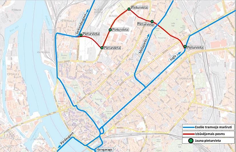 Esošais tramvaja maršrutu tīkls un iecerētais Skanstes tramvaja posms. Skanstes tramvaja līnijas būvprojekta laikā ir plānota 3,6 km garas jaunas tramvaja līnijas izbūve pa maršrutu Pērnavas iela – Senču iela – Zirņu iela – Skanstes iela – Sporta iela, kā arī esošās 5. un 9. tramvaja maršrutu infrastruktūras rekonstrukcija apmēram 3 km garumā līdz pilsētas centram.