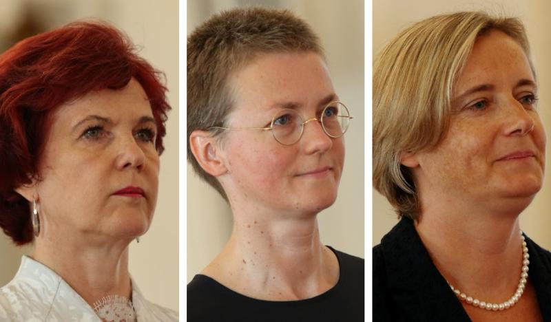 No kreisās – Solvita Āboltiņa, Kristīne Našeniece, Alda Vanaga. Foto – LETA. Kolāža – LA.lv