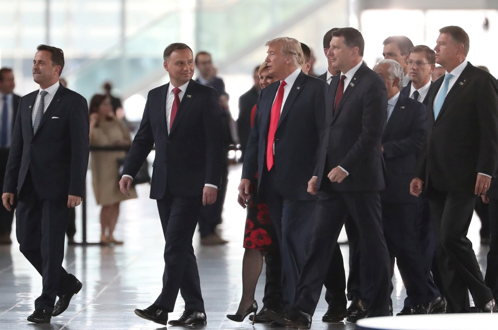 ASV prezidents Donalds Tramps un Latvijas prezidents Raimonds Vējonis NATO samitā Briselē, 11.07.2018.