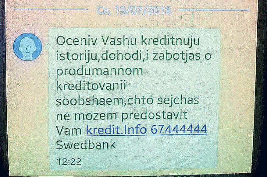 Kaut gan kliente visus dokumentus bija aizpildījusi latviski, bankas atbildi telefona īsziņā viņa saņēmusi krievu valodā.