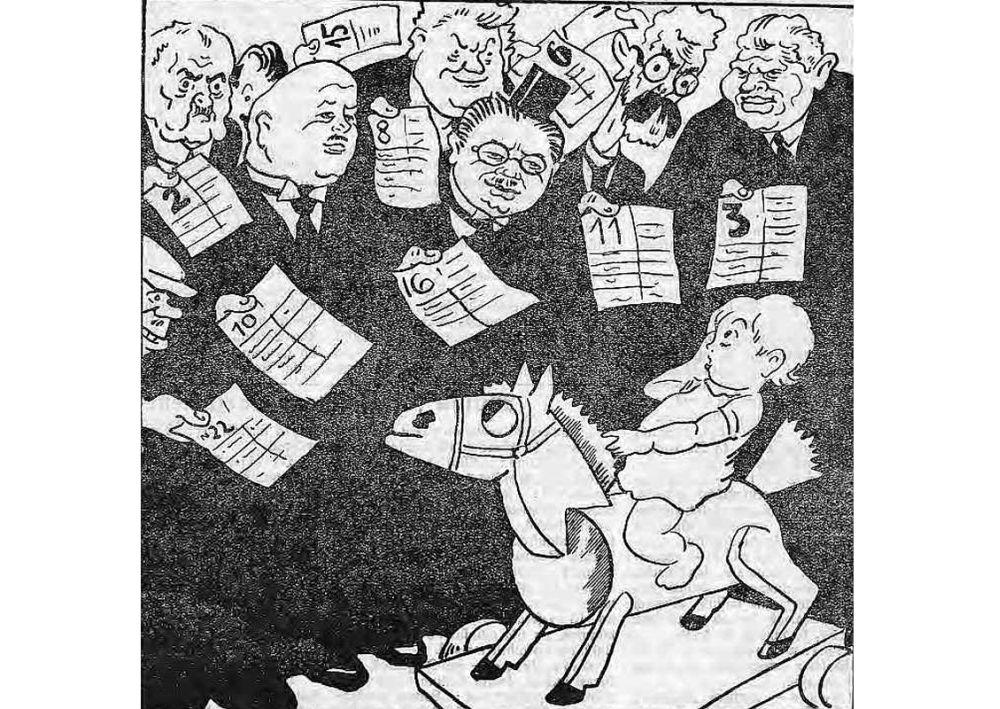 """Balso tik par mani"". 1928. gada karikatūra."