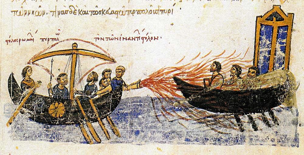 """Bizantieši sakauj arābu floti ar """"grieķu uguni""""."""