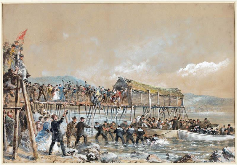 Kabeļa izvilkšana Ņūfaundlendas krastā.