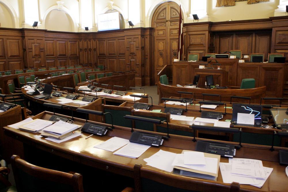 Saeimas sēžu zāle.