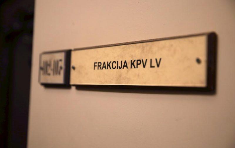 """Partijas """"KPV LV"""" Saeimas frakcijas telpa."""