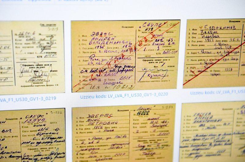 """Daļa no bijušās Valsts drošības komitejas (VDK) dokumentiem jeb tā dēvētajiem """"čekas maisiem"""" publiskota interneta vietnē """"kgb.arhivi.lv"""", 20.12.2018."""
