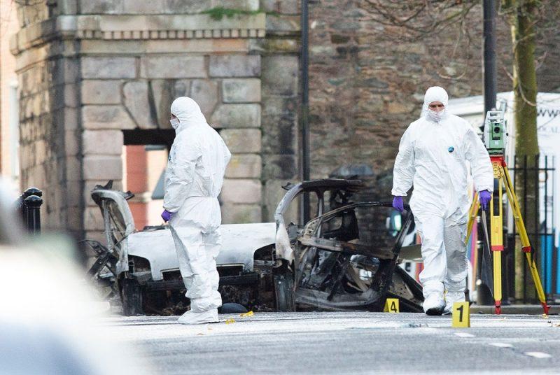 Ziemeļīrijā sestdienas vakarā pie tiesas nama Deri uzsprāgusi automašīna, 20.01.2019.