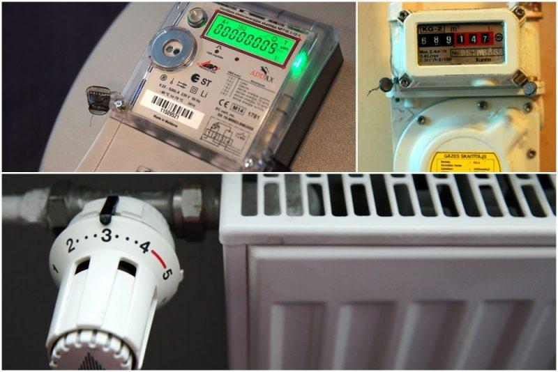 Elektroenerģijas skaitītājs, gāzes skaitītājs, radiators.
