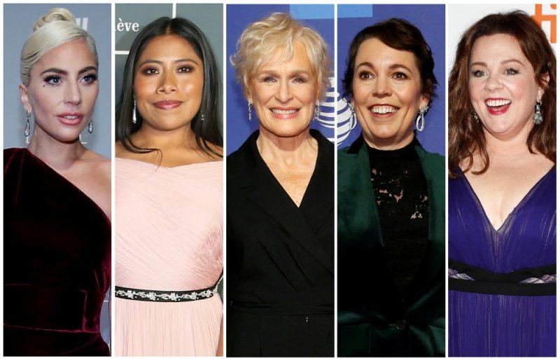 """Labākās aktrises balvai nominētas: """"Lady Gaga"""", Jalica Aparisio, Glenna Klouza,  Olīvija Kolmena, Melisa Makartija"""